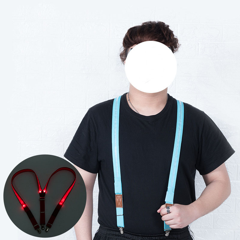 Unisex LED Strip Light Up Suspender Adjustable Trousers Running Riding Braces Strong Clip Party Supplies