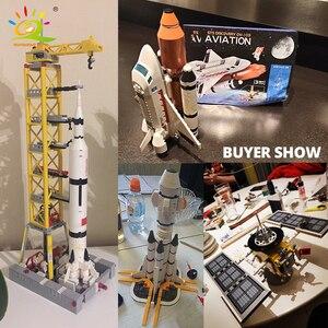 Image 5 - HUIQIBAO Space Station Saturn V Rocket Building Blocks Cityรถรับส่งSatelliteนักบินอวกาศรูปManอิฐชุดของเล่นเด็กของขวัญ