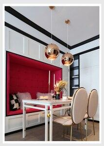 Image 2 - Zaktualizowane szkło lustrzane wiszące lampa w kształcie kuli miedziane złote srebrne Loft kuchnia wyspa stół wisząca lampa szklana kula zawieszenie
