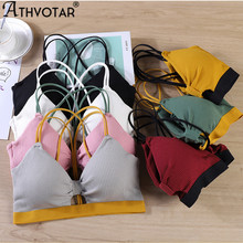 ATHVOTAR Women Hollow Bra Solid Patchwork Padded Bralette Simple Tube Top Breathable Lingerie