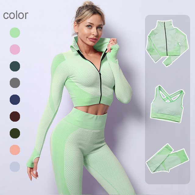 2/3PCS Seamless Women Yoga Set Workout Sportswear Gym Clothing Fitness Long Sleeve Crop Top High Waist Leggings Sports Suits 1