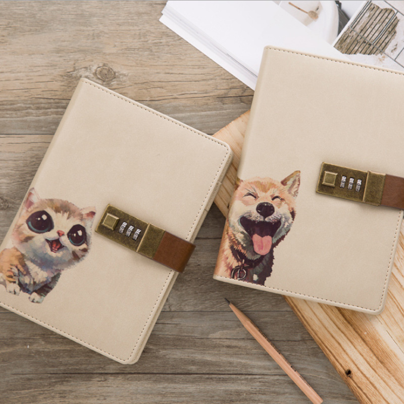 B6 cute pet series with lock password cartoon stationery painted multi-function notebook creative stationery notebook diary