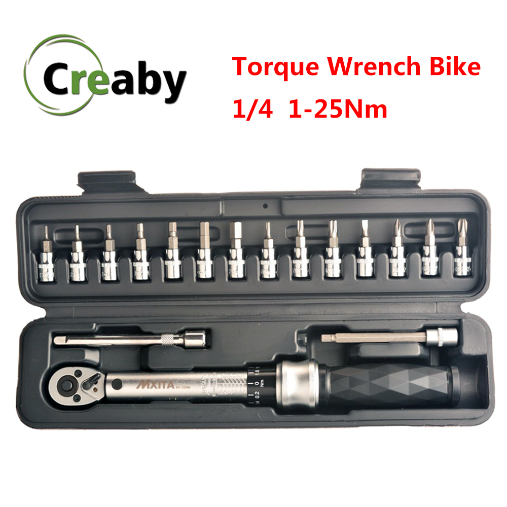 "Professional Preset Torque Wrench Set 1/4"" 1-25Nm Bicycle Tool Kits Bike Repair Spanner Hand Tools High Precision 3% Industrial"