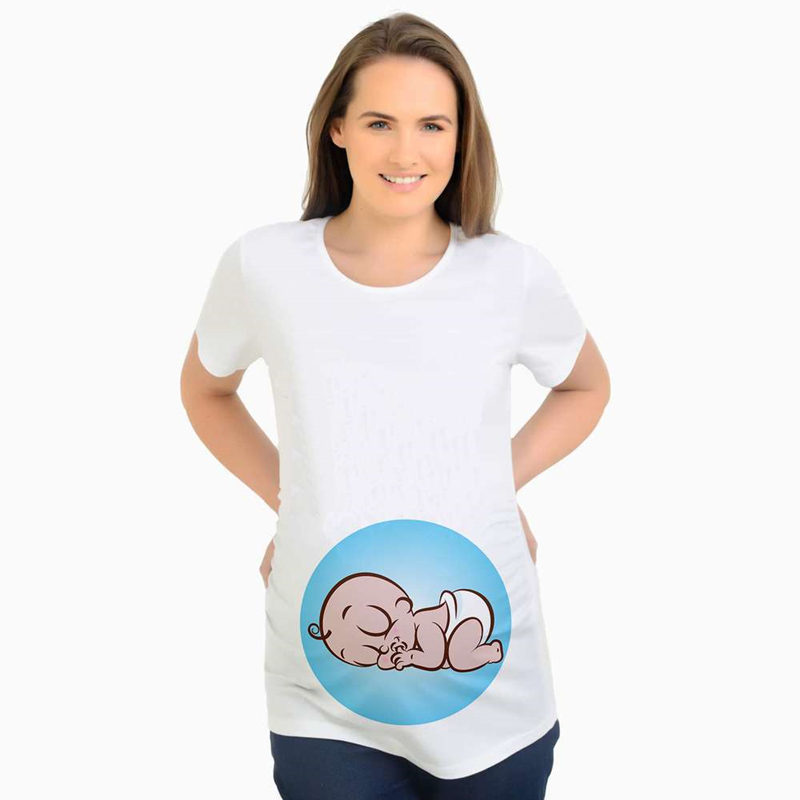 Women Short sleeve Pregnant Maternity Dress Solid Print Cartoon Cute Print Tops women dress plus size <font><b>positiekleding</b></font> zomer jurk image