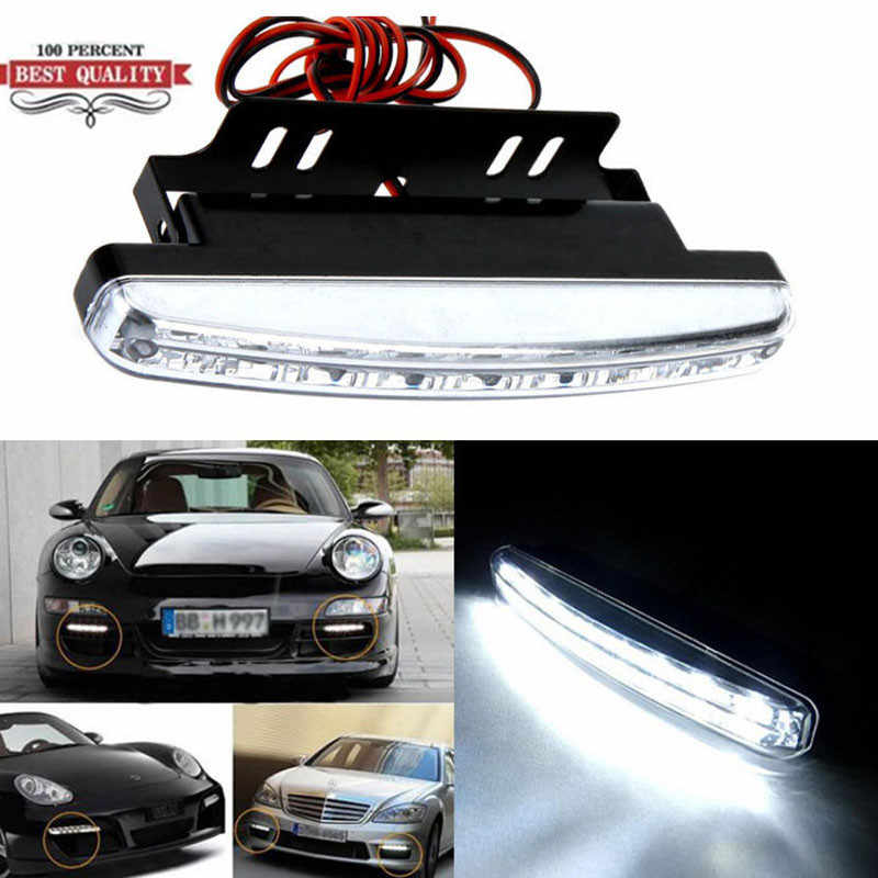 Wupp Nieuwe Hot Verkoop Auto Styling 12V 8W 6000K 8 Led Daytime Driving Drl Auto fog Lamp Waterdicht Wit Dc 12V December