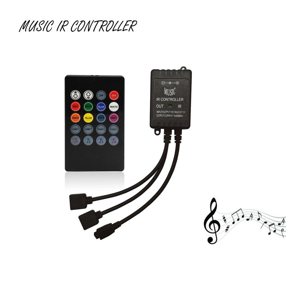 20 Key Music IR Controller Black Sound Sensor Remote For RGB LED Strip DC 12 Led Controller Connect With 2 Led Strip