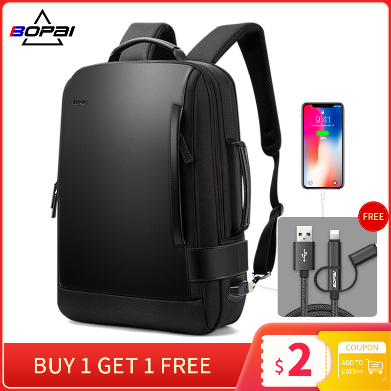 Notebook Backpack Rucksacks Usb-Charging Contractive Nylon Black Mens Male