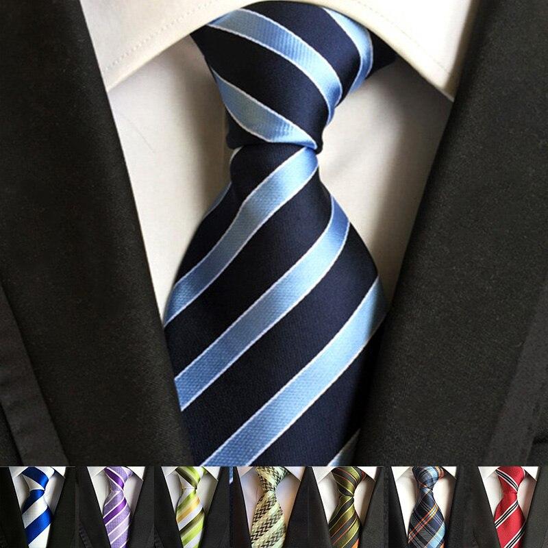 YISHLINE 52 Colors Classic 8 Cm Tie For Man 100% Silk Tie Striped  Business Neck Tie For Men Suit Cravat Wedding Party Necktie