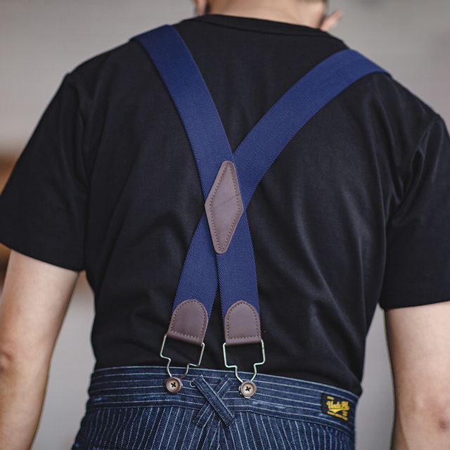 Maden Men's Retro Casual Blue Striped Pants Scottish plaid hem Regular Straight Fit Denim Work Pants With Detachable Suspenders 4