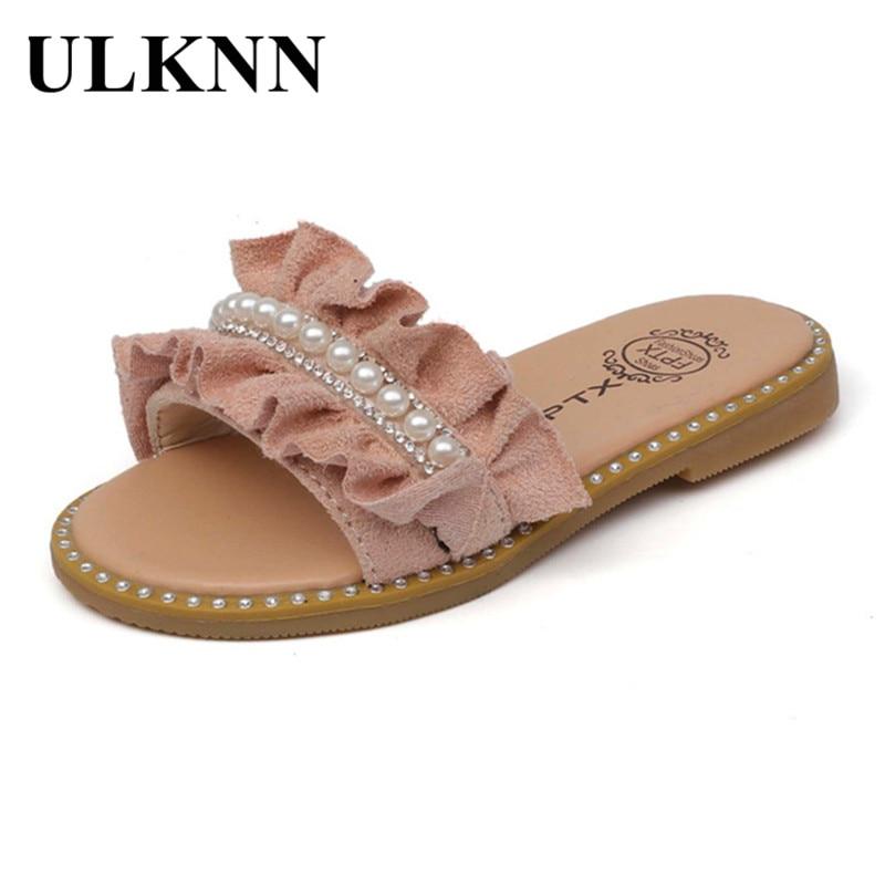 ULKNN Toddler Kids Baby Girls Pearls Crystal Ruffles Princess Shoes Sandals Slippers Crystal Single Princess Roman For Children