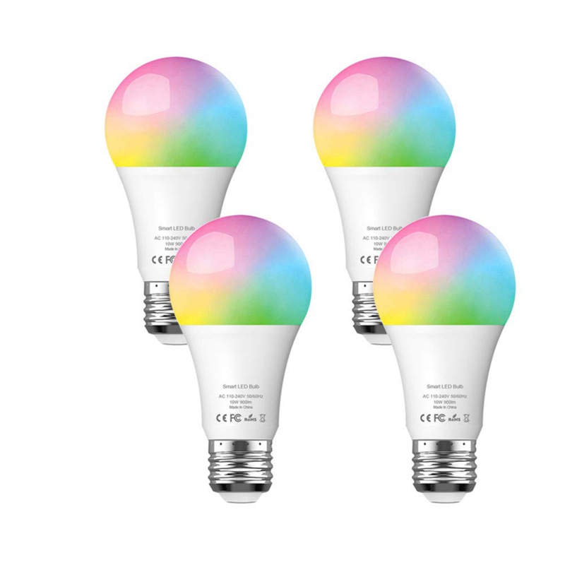 4 Pack Smart Light Bulb With Warm White Light 2700K + RGB, E27 WiFi Multicolor LED 900LM Bulb For Alexa, Google Home And IFTTT