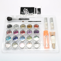 20 Pcs Glitter Tattoo Powder For Body Art Temporary Tattoo Body Painting Kit With Brushes Glue Stencils Free Shipping
