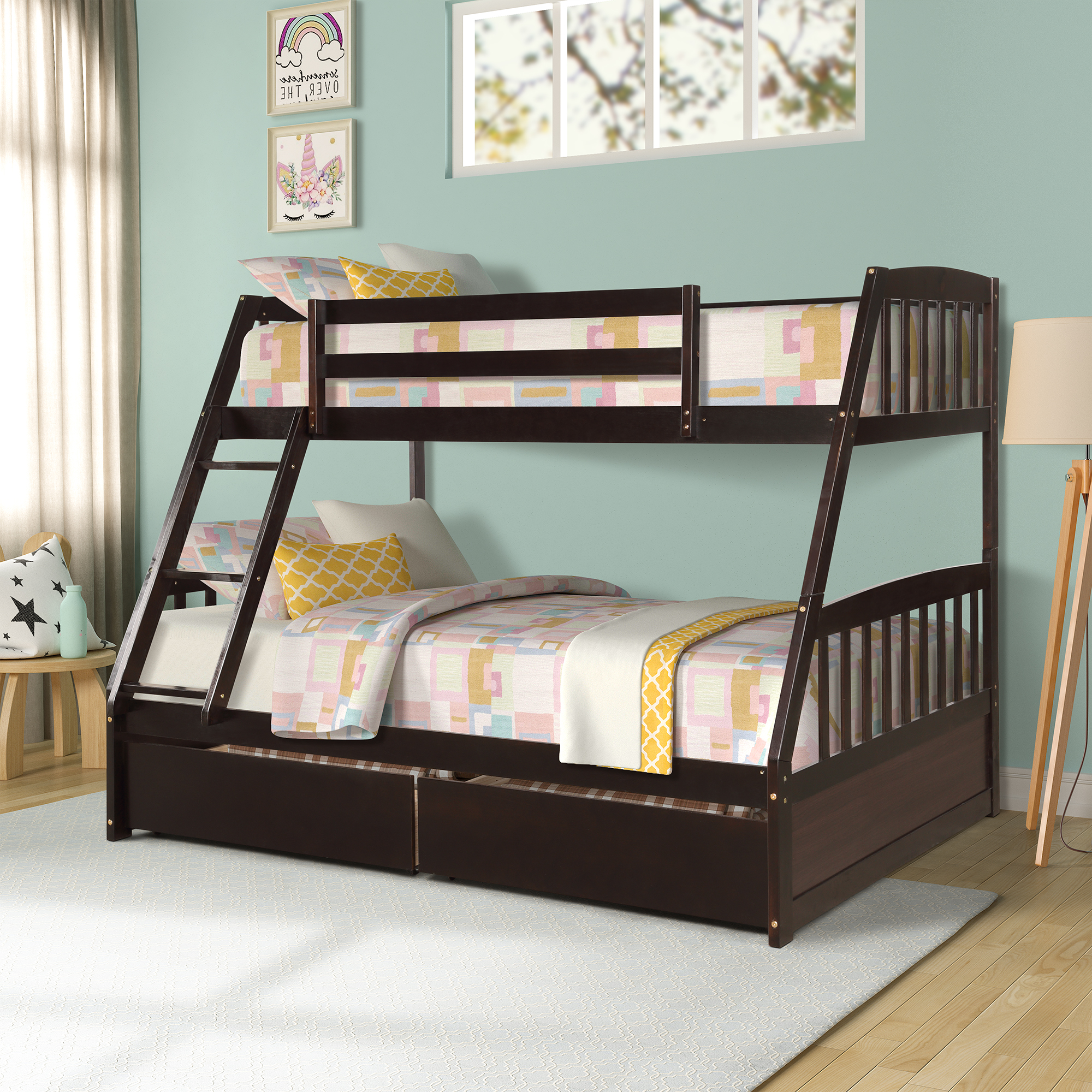 Bedroom Furniture Bed Solid Wood Twin Over Full Bunk Bed With Two Storage Drawers White For Adults Child Bed Factory Price Sales