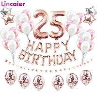 38 шт. 32 дюйма розовое золото номер 25 фольга гелиевые шары 25 день рождения украшения 25 лет 25 день рождения поставки Globos