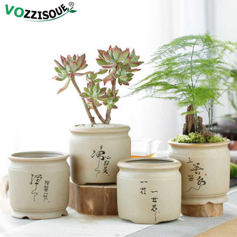 Phong Cách Trung Hoa Mọng Nước Nồi Dụng Cụ Bào Gốm Quá Trình Trong Nhà Hoa Jardin Để Bàn Chậu Đựng Trang Trí Nhà Mini Macetas