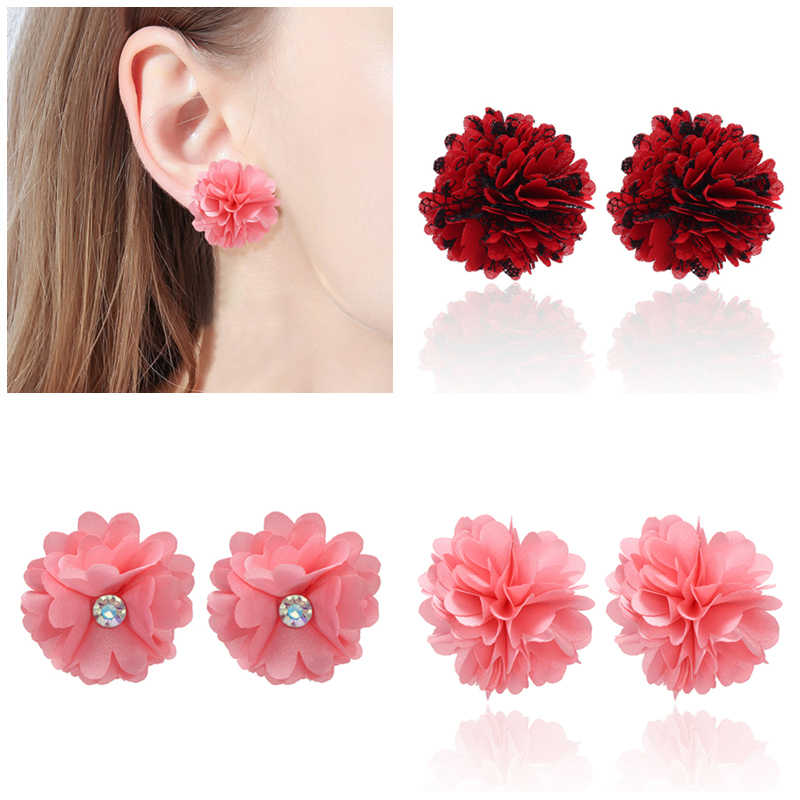 Grosir Korea Geometris Anting-Anting Gothic Kain Bunga Stud Earrings untuk Wanita 2019 Anting-Anting Fashion Perhiasan Oorbellen Brincos