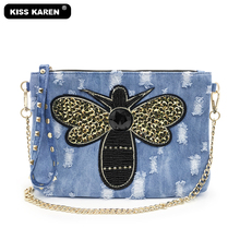 KISS KAREN Fashion Denim Wristlets Rivets Clutch Bag Women's Shoulder Bags Jeans Lady Satchels Casual Women Messenger Bags kiss karen floral lace women messenger bag vintage fashion studded denim bag women s shoulder bags summer jeans crossbody bags