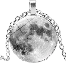 2019 New Moon Surface Time Glass Convex Round Metal Pendant Necklace Hot Popular Jewelry Wholesale