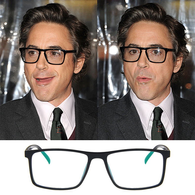 Square Glasses Iron Man Downey Same Spectacle Frame Tide Ultra-light May Be Myopic 2429 Flat Mirror Unisex Solid