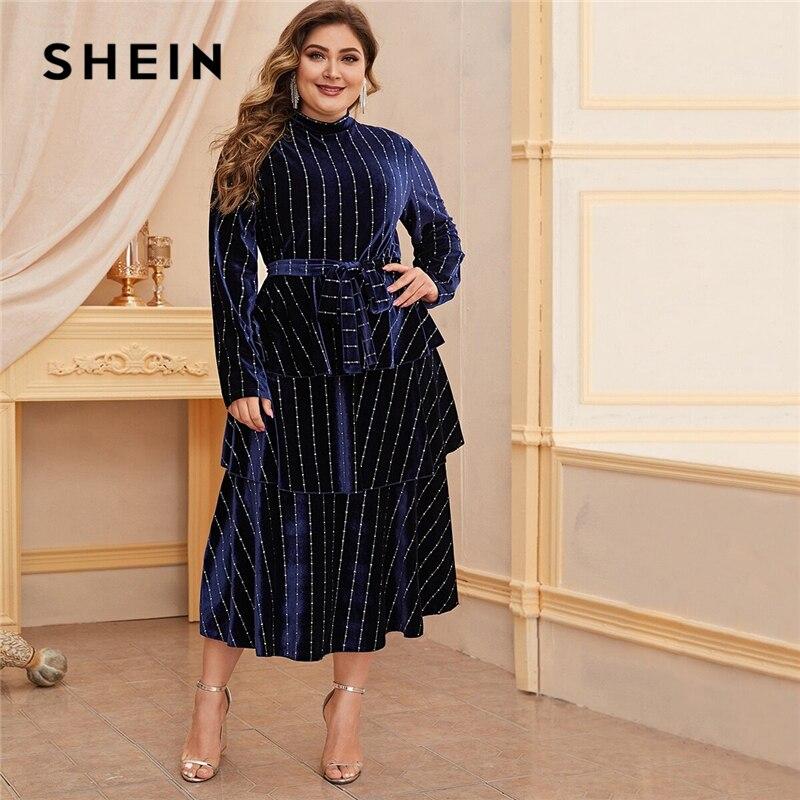 SHEIN Plus Size Mock Neck Striped Velvet A-line Dress Women Spring Winter Long Sleeve High Waist Glamorous Elegant Long Dresses