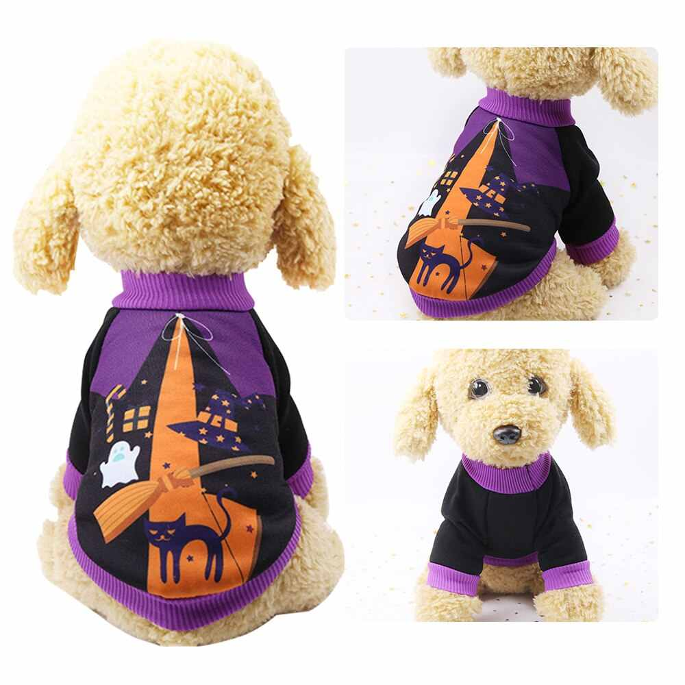 Anjing Lucu Kostum untuk Halloween Liburan Labu Suit Hoodie Hewan Peliharaan Baju Pesta Anak Kucing Anjing Kostum Hangat Bulu XS-2XL