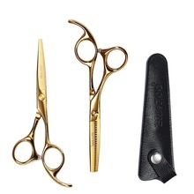 Scissors hair professional Haircut hairdressing scissors color 5.5 inch flat tooth leather set 3 optional