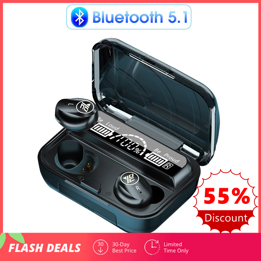 Bluetooth 5 1 Earphone Touch Control Wireless Headphones HiFi Sports Waterproof Earbdus Bluetooth Headset With Microphone LED