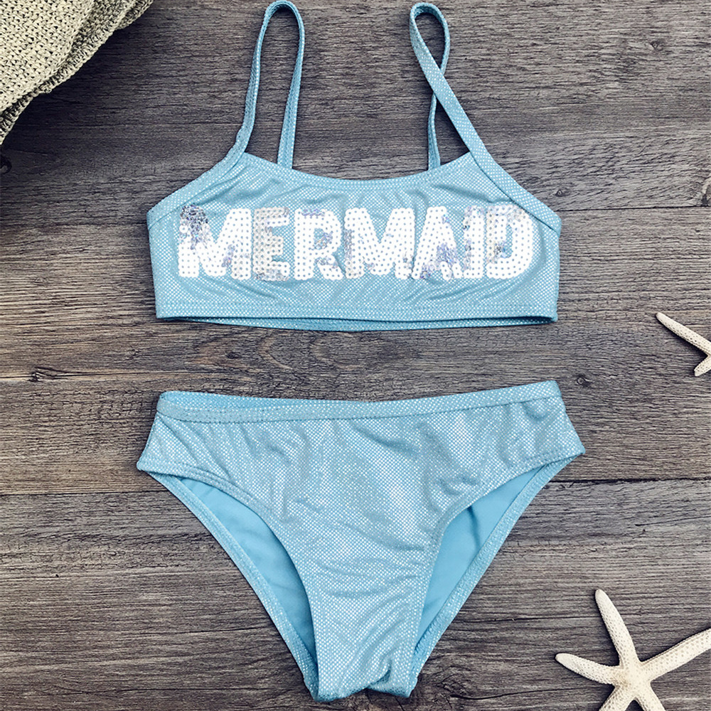 Letter Decoration Girls Bikini Set Shinning Children Kids Swimwear Swimsuit 2019 Girls Biquini Infantil Kids Bathing Suit 292