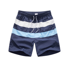 New Spring And Summer Seaside Play Men's Beach Pants European American Fashion Large Surf Fast Dry Stripe Shorts With Lining
