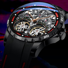 Skeleton Automatic Mechanical Watch AILANG Black Men Watches Silicon Strap Sports Luxury Male Clock Relogio Masculino 2020 NEW(China)