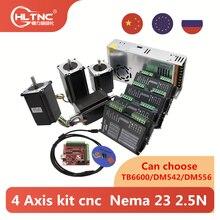 Kit de 4 eixos cnc nema 100mm, motor de passo tb6600 dm542 dm556 driver + usb mach3 card controlador cabo + 350w fonte de alimentação