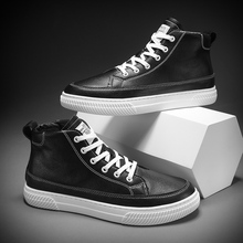 лучшая цена Men shoes 2019 new fashion casual students high top board shoes men trend of breathable shoes men sneakers zapatos hombre black