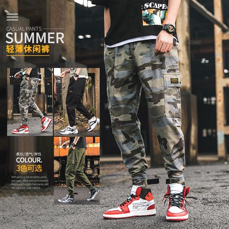 Summer New Style Camouflage Bib Overall Men's Velcro Beam Leg Multi-pockets Pants Japanese-style Bib Overall Trend Capri Pants