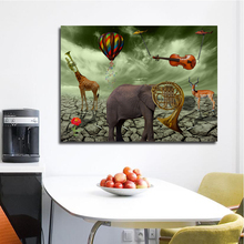 Salvador Dali Elephant Deer Trumpet Paintings Canvas Printed Wall Art Prints Poster For Living Room Animal Cuadros Home Decor