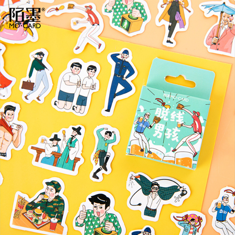 46 pcs/pack Off-line boy Stickers Cute Diary Decoration Scrapbooking DIY seal Sticker Stationery