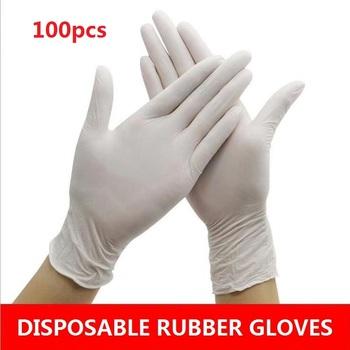 Uniwersalne rękawiczki lateksowe jednorazowe białe antypoślizgowe kwasowe laboratoryjne gumowe rękawiczki lateksowe czyszczenie gospodarstwa domowego jednorazowe 100 50 30 szt tanie i dobre opinie 140g Universal Gloves Grube latex Gładka podszewka lateksowe