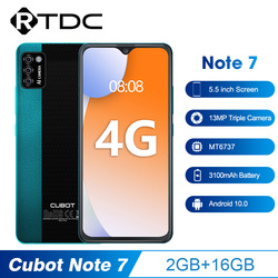 Cubot Note 7 5.5'' 2GB 16GB 13MP Triple Camera MT6737 Smartphone 3100mAh Android 10 Face Unlock 4G Mobile Phone