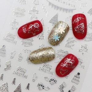 Image 5 - 新ファッション3Dネイルステッカーサンタクロースホワイト/ゴールド/レッドバック糊レーザークリスマスツリーデカールdiy