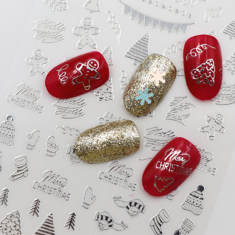 Image 5 - new Fashion 3D Nail Decals Santa Claus White /gold /red Back Glue laser Christmas tree nail art decal  DIY-in Stickers & Decals from Beauty & Health