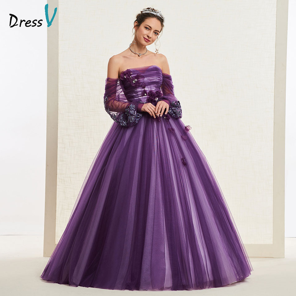 Dressv Grape Strapless Wedding Dress Ball Gown Long Sleeves Appliques Pleats Floor Length Bridal Outdoor&church Wedding Dresses