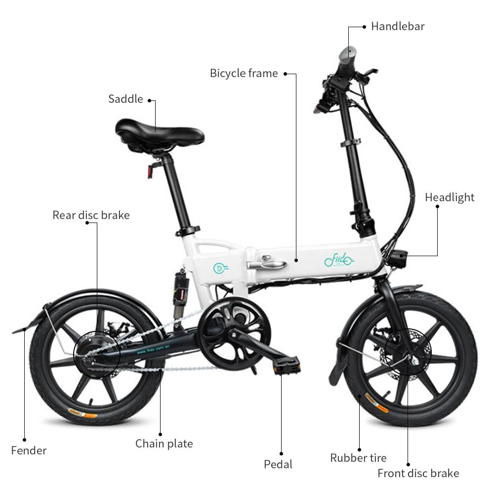 FIIDO D1 D2 D2s D3 D3s Smart 7.8AH/10.4A складной электрический велосипед мопед двойные дисковые тормоза светодиодный передний светильник для электровелосипеда - 3