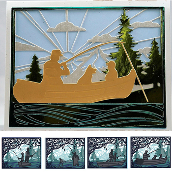 Father And Son Fishing Die Cuts For Card Making Scenes+Pattern+Frame Metal Cutting Dies Stencils 2020 Embossing Crafts Cards