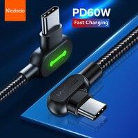 MCDODO-Cable USB tipo C para teléfono móvil, Cable de datos de carga rápida PD 60W para Huawei P40 P30 Pro Xiaomi Redmi Samsung