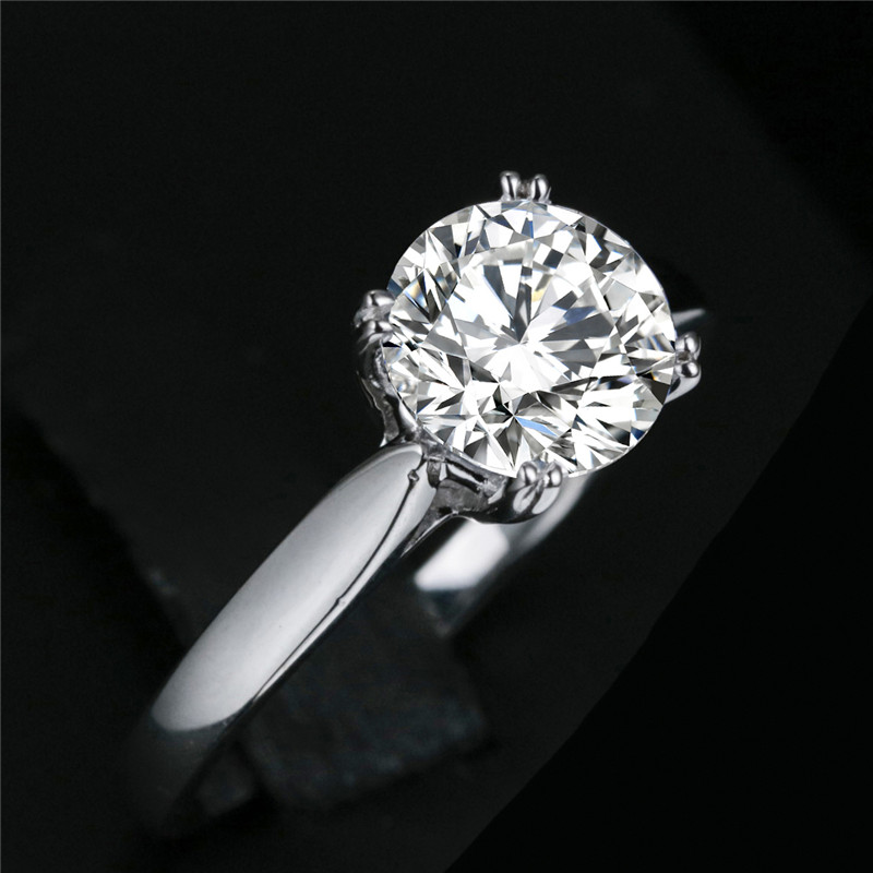 8mm 1 9 carat round cut Diamond Ring not fake S925 sterling silver fine wedding proposal anniversary yes i do engagement in Rings from Jewelry Accessories