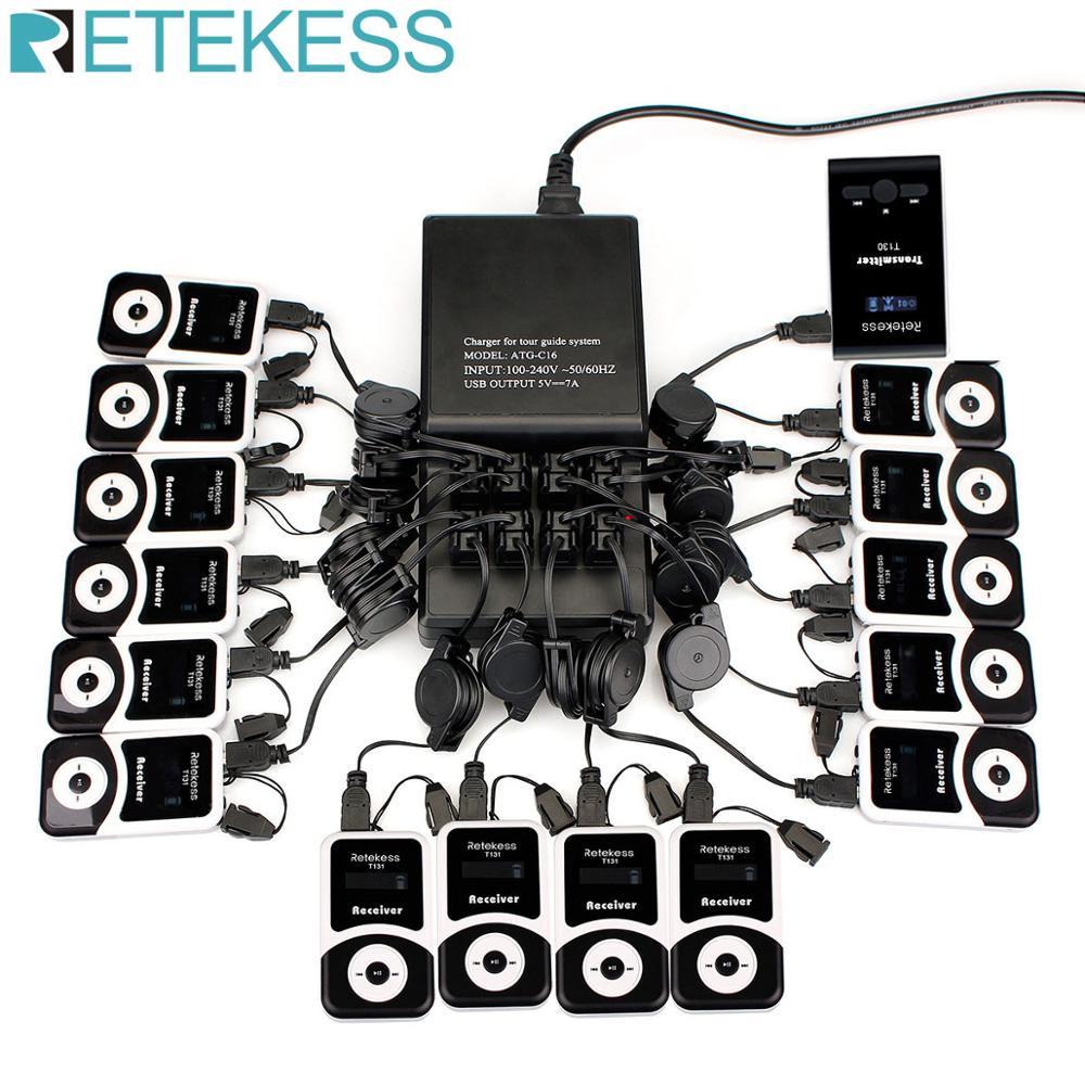 Système de Guide touristique sans fil Base de chargeur 16 ports + émetteur + 15 récepteurs T131 pour la visite guidée réunion de traduction simultanée