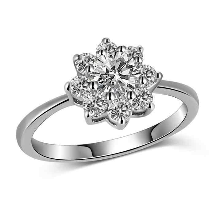 ดอกไม้ดวงอาทิตย์ใหม่ CZ Zircon แหวนทองคำขาวแหวนเงินผู้หญิงคุณภาพสูงแฟชั่นงานแต่งงานสาวสุภาพสตรีแหวนผู้หญิงเครื่องประดับ