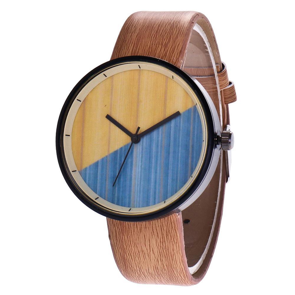 Unisex Watch Men And Women Students Watch Simple Trendy Retro Wood Grain Creative Personality Analog Couple Quartz Wrist Watch