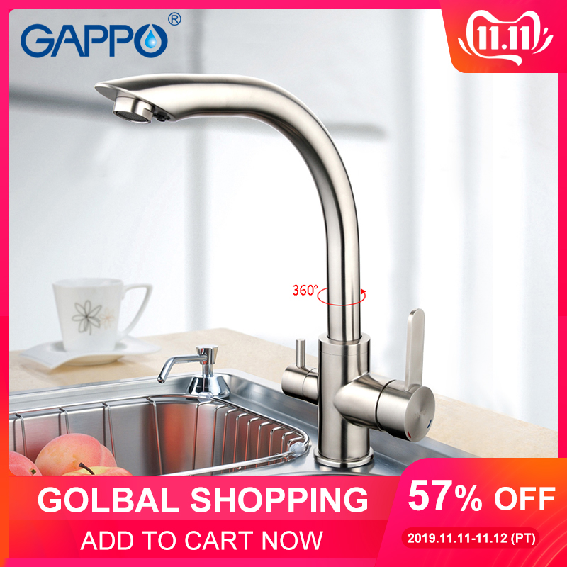 GAPPO Silver Kitchen Sink Faucet Tap Purification Function Cold And Hot Water Mixer Stainless Steel Crane Double Handles G4399