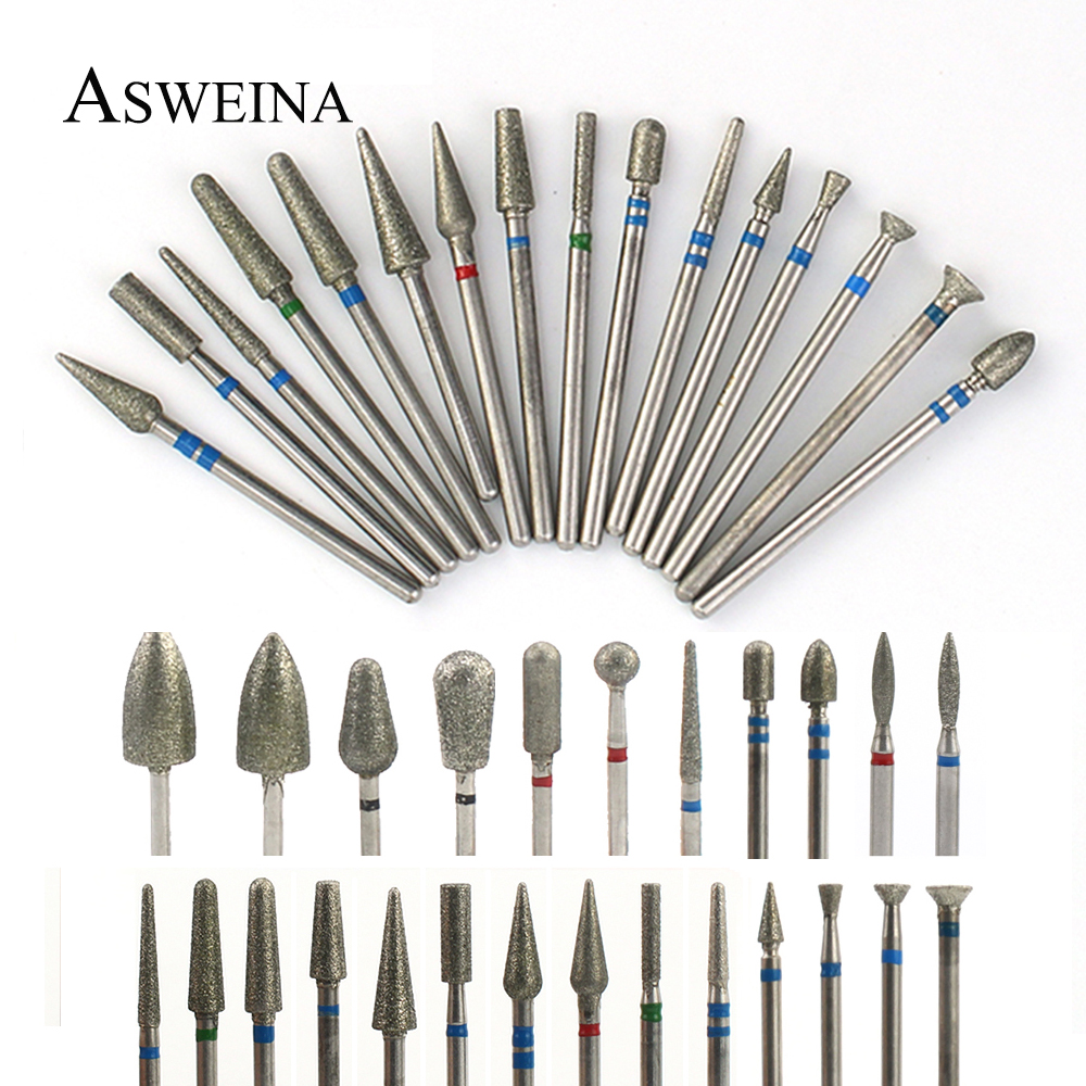 Diamond Milling Cutters Electric Manicure Burrs Nail Drills Bit Rotary Pedicure Files Cuticle Clean Bits Tools Accessories