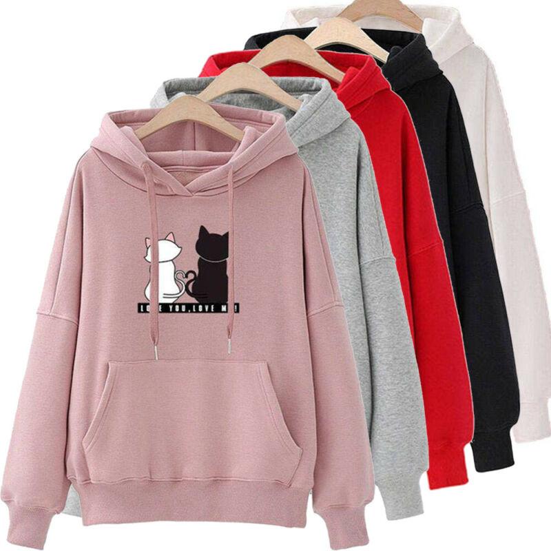 Hoodies Women 2019 Autumn Cat Print Women Hoodies Women Long Sleeve Tops Hoodies Mujer Warm Winter Jacket Women Tracksuit